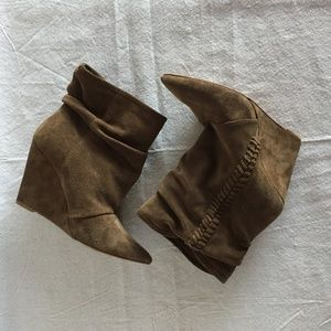 Zara Trafaluc Brown Suede Slouch Wedge Booties